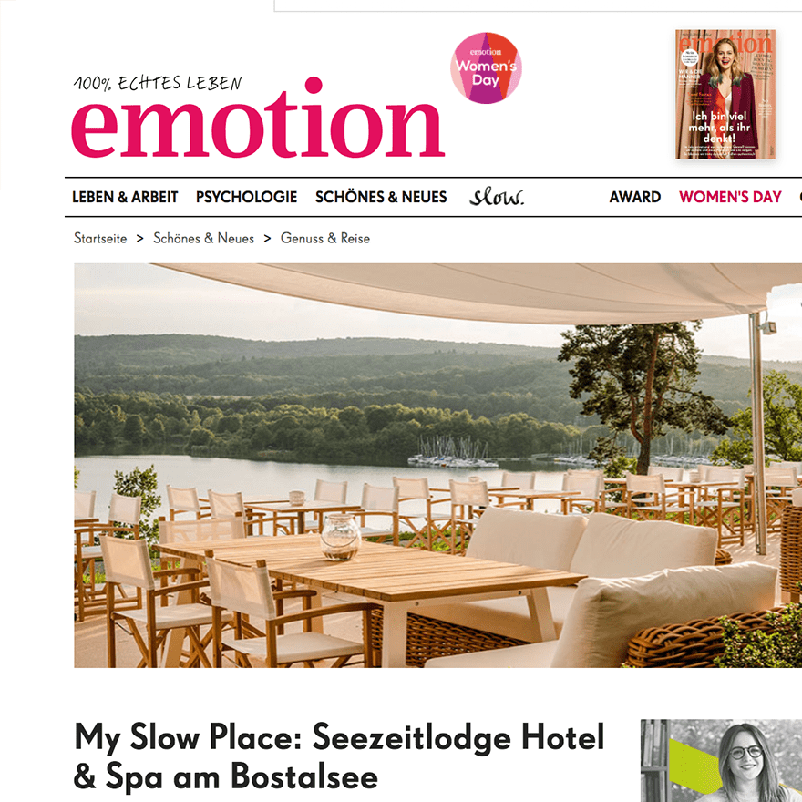 emotion.de - eingetragener Slow Place im EMOTION SLOW und EMOTION Magazin