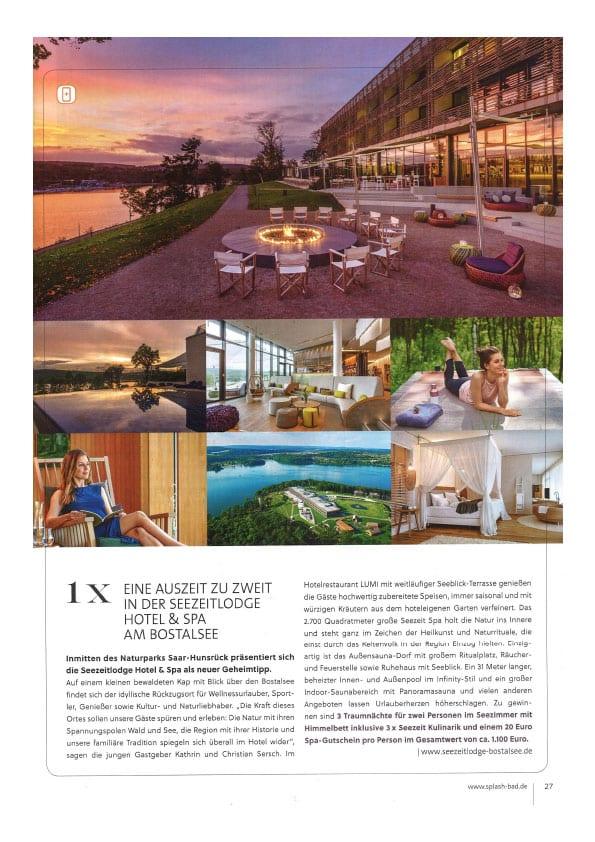 Seezeitlodge Hotel & Spa Pressestimmen: Splash