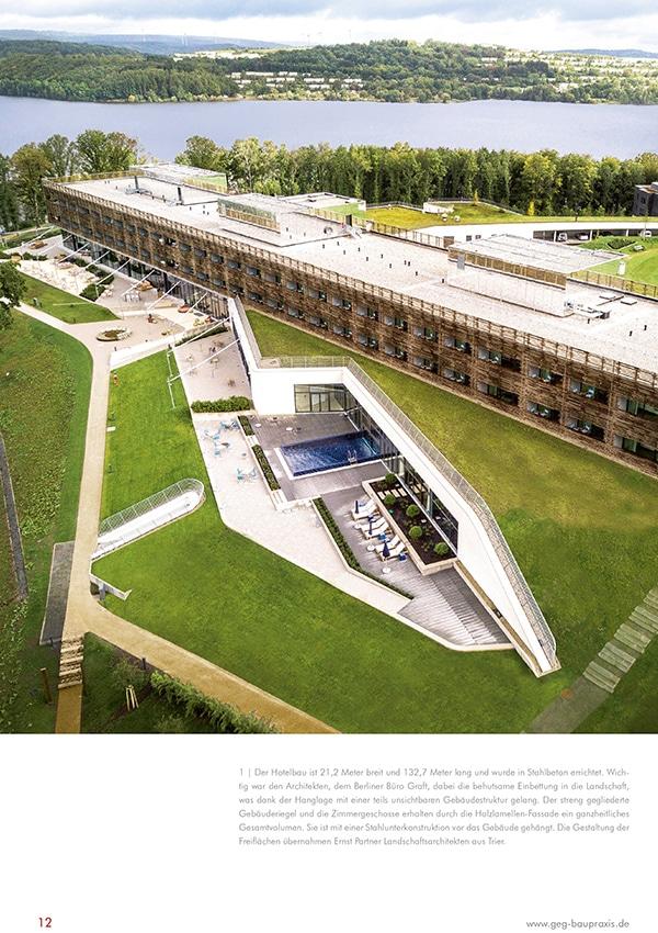 Fachreportage Eva Mittner - Fachmagazin GEG Baupraxis Seite 1 - Hotel Seezeitlodge Hotel & Spa