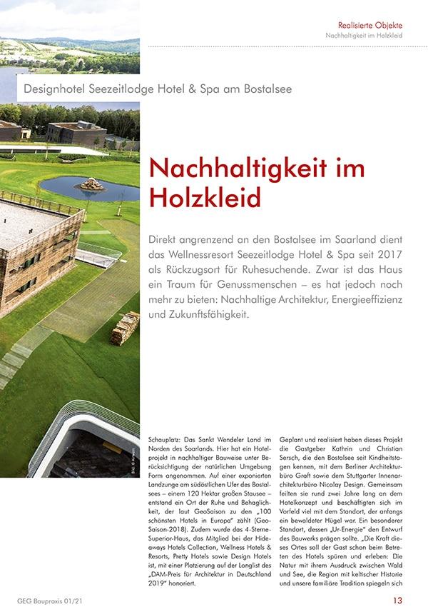 Fachreportage Eva Mittner - Fachmagazin GEG Baupraxis Seite 2 - Hotel Seezeitlodge Hotel & Spa