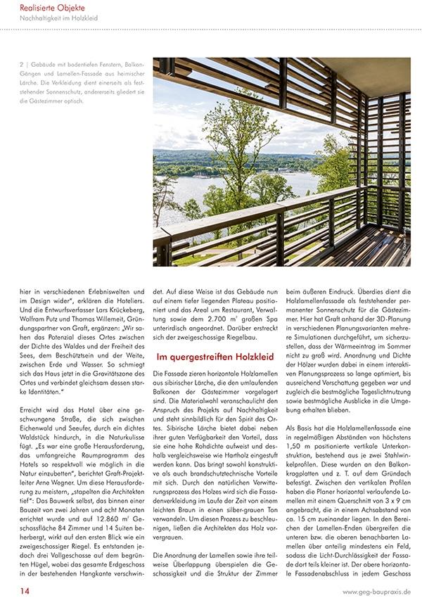Fachreportage Eva Mittner - Fachmagazin GEG Baupraxis Seite 3 - Hotel Seezeitlodge Hotel & Spa