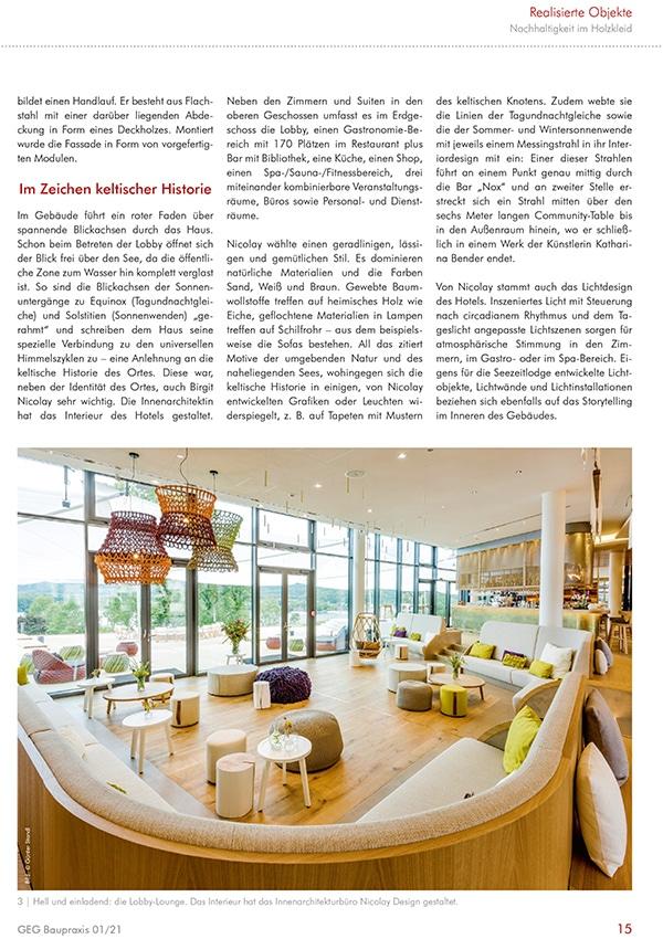 Fachreportage Eva Mittner - Fachmagazin GEG Baupraxis Seite 4 - Hotel Seezeitlodge Hotel & Spa