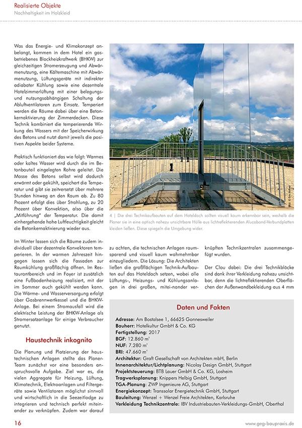 Fachreportage Eva Mittner - Fachmagazin GEG Baupraxis Seite 5 - Hotel Seezeitlodge Hotel & Spa