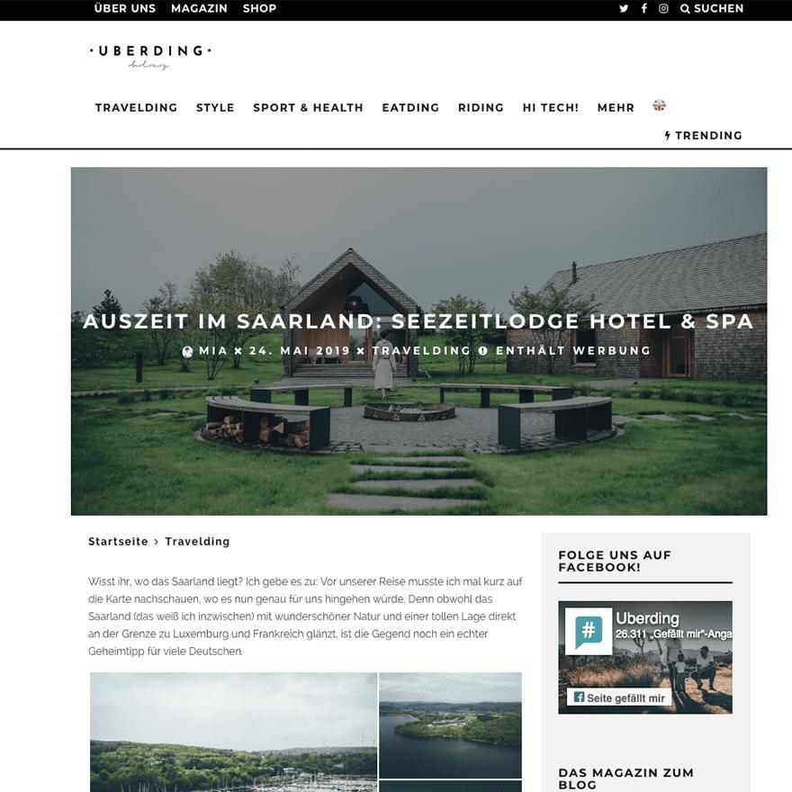 Seezeitlodge Pressestimmen: Blogpost von Mia Bühler auf uberding