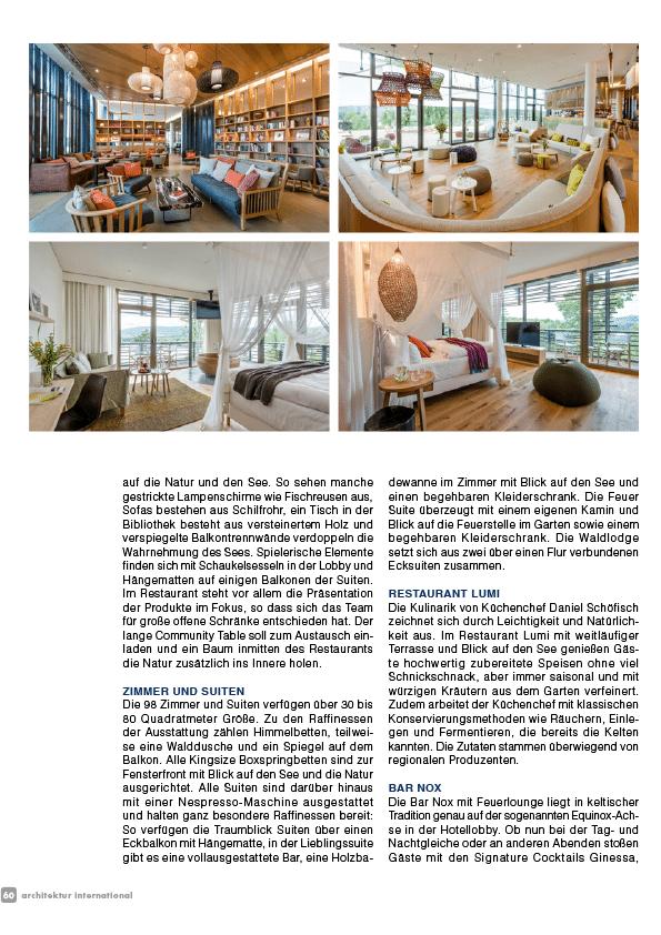 hotel seezeitlodge bostalsee pressestimmen architektur international 11.17 seite3