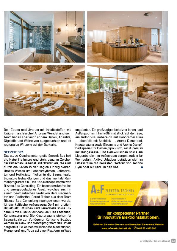 hotel seezeitlodge bostalsee pressestimmen architektur international 11.17 seite4