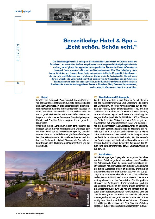 Seezeitlodge Hotel & Spa Pressestimmen: Dental Spiegel
