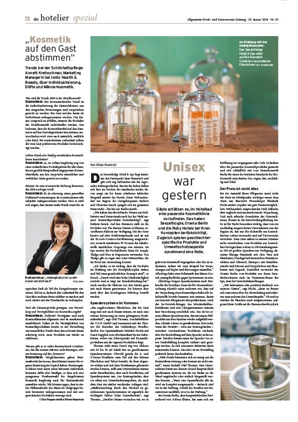 der hotelier spezial, Allgemeine Hotel- und Gastronomie-Zeitung