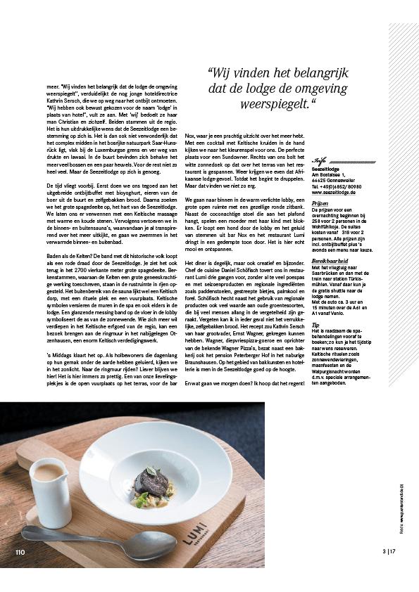 hotel seezeitlodge bostalsee pressestimmen duitsland magazine 3.17 seite3