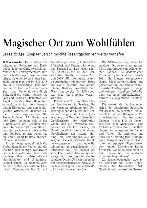Hotel Seezeitlodge am Bostalsee - Pressestimmen Nahe Zeitung Ausgabe 26.2.2019