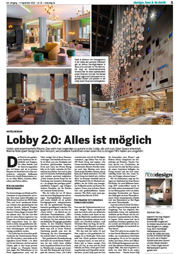 Seezeitlodge Hotel & Spa Pressestimmen - AHGZ 2020