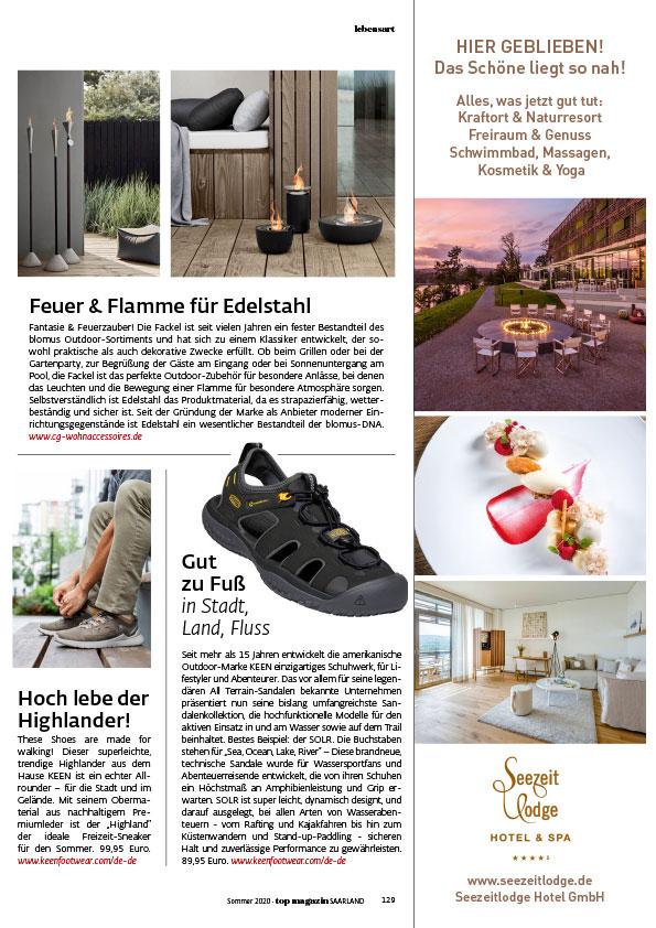 Seezeitlodge Hotel & Spa Pressestimmen - TOPMAGAZIN SAARLAND 2020